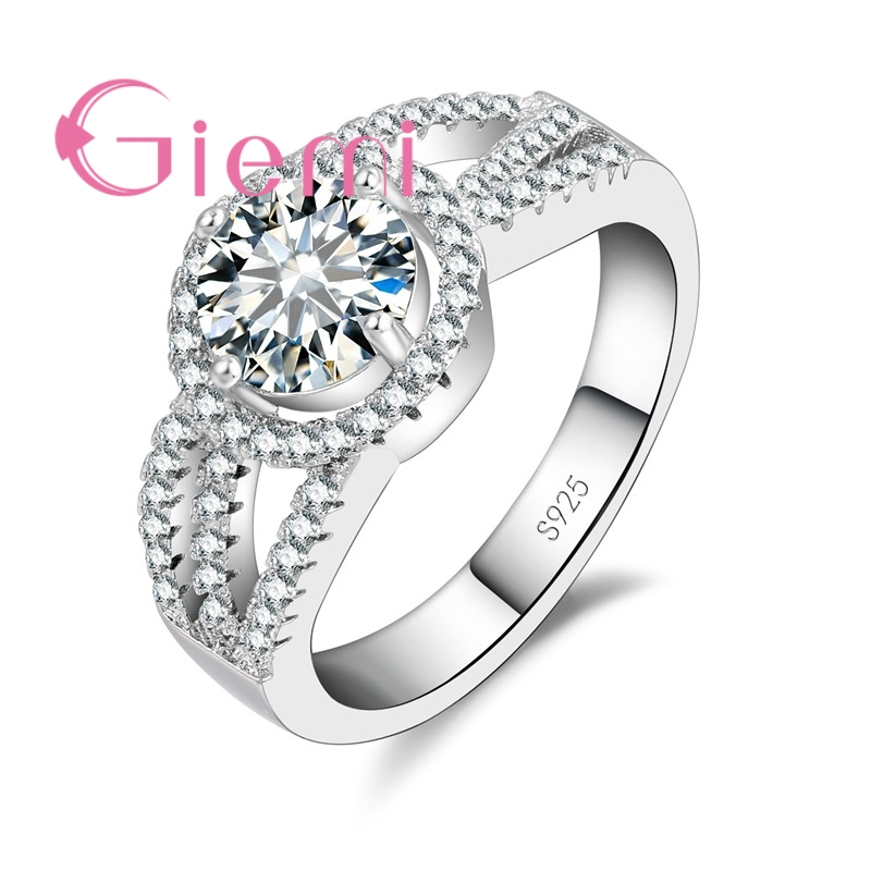 GIEMI Romantic Round Austria Crystal Stone Ring for Bride Wedding Ceremony Vow Jewellery Sterling 925 Silver Cubic Zirconia