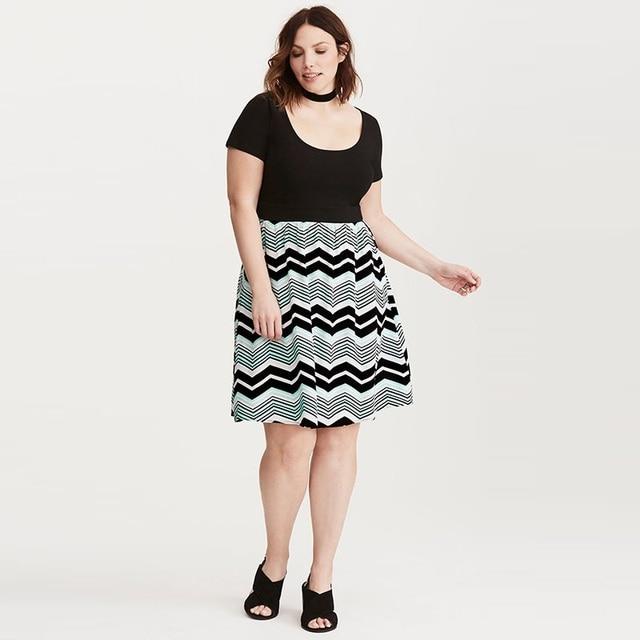 6a8a6a05086 Large Size 7XL 8XL Cotton Women Dress Casual short sleeve patchwork striped  swing dress Plus Size Dresses For Women 4XL 5XL 6XL