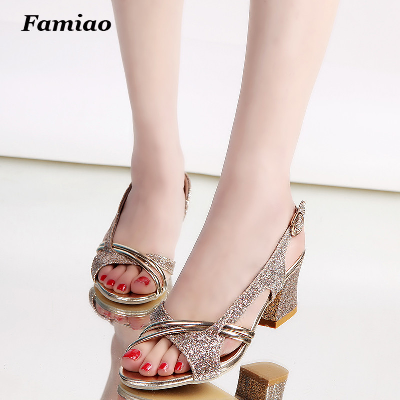 Fashion Women Sandal Thin High Heels Sandals Gold Ladies Summer Shoes Gladiator Heels open toe Hollow Out Bling Glitter PU hot selling black leather sandal high heel summer open toe chains decorations gladiator sandal woman cutouts thin heels shoes