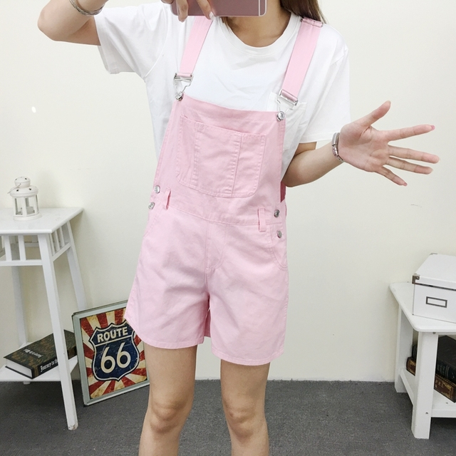 3b13d0822039 2019 Summer Woman Loose Casual Overalls Rompers Short Jumpsuit Trendy  Strappy Pocket Pink White Suspender Short Bodysuit