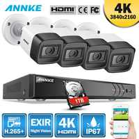 ANNKE 4K HD Ultra Clear Footage 8CH CCTV Security System 5MP 5in1 H.265+ DVR With 4x 8MP Weatherproof Outdoor EXIR Night Vision