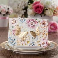 new wedding invitation cards with pop up butterfly laser cut flowers decoration cw5069