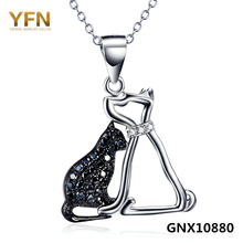 GNX10880 Real 925 Sterling Silver Necklace Cat and Canine Jewellery Black Cubic Zirconia Necklaces & Pendants For Ladies