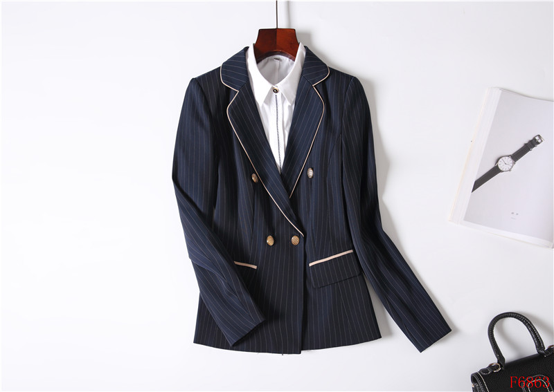 E Blazer Stili Uniformi Giacca A Set blu Affari Per Il Vestiti Ufficio Navy Del Le Di Usura Nero Vestito Donne Donna Con Nero Lavoro Eleganti Gonna Strisce 6BZ1xwOBq