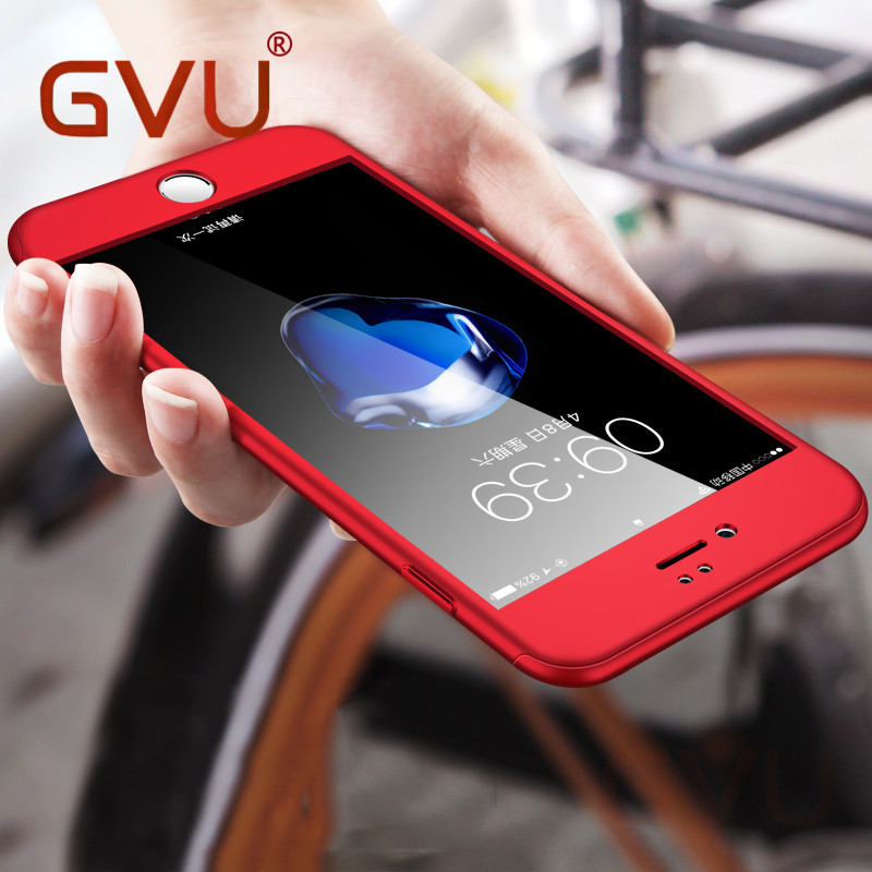 GVU 360 Degree Full Cover Phone Case For iPhone 6 Case Luxury With Tempered Glass For iPhone 5 5s 6 6s 7 X Plus Red Case