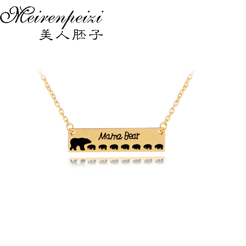 2018 Mama Bear Pendant Necklace Bear Baby Bear Mother's Day Birthday Gift Cute Animal Necklace Jewelry Drop Shipping