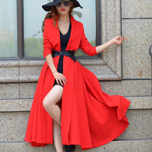 2016 Spring and Autumn New Fashion All-match Womens Trench Medium-long Elegant Outwear Long Sleeve Slim Female Trench Coats