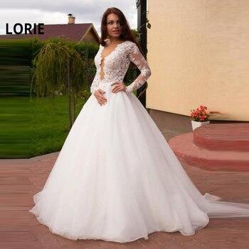 4cabb5095 Vestido de novia LORIE 2019 tul y encaje con apliques de verano vestido de  novia A-Line vestido de ...