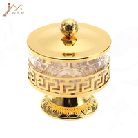 Free shipping unique European style gold finish metal&acrylic salt/sugar/tea/coffee jars, high quality tableware,dinnerware