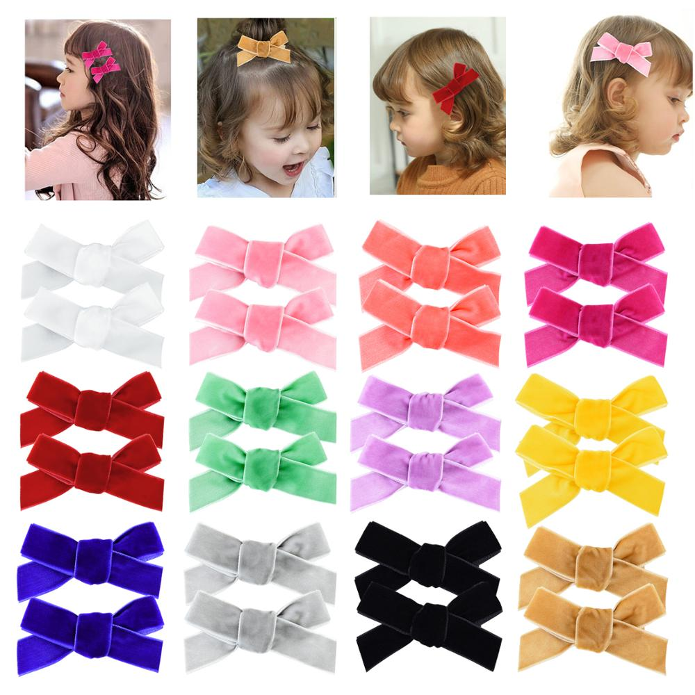 InSowni 2019 New 1 Pair Pigtail Velvet Bow Alligator Hair Clips Barrettes Accessories For Baby Girls Toddlers Infants Teens Kids
