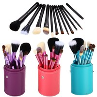Free Shipping 12Pcs Pro Soften Makeup Tools Brush Set Kit With Brush Pot Protector Travel BSEL