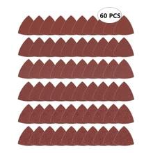 60 шт треугольная наждачная бумага с крючками и петлями, подходит для 3-1/8 дюймовых осциллирующих многофункциональных шлифовальных инструментов, ассорти 40 60 80 100 120