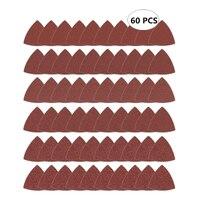 60 шт. треугольная крюк и петля треугольник-наждачная бумага, подходит 3-1/8 дюймов Осциллирующий мульти инструмент шлифовальная площадка, Асс...