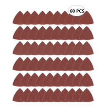 60pcs Triangular Hook and Loop Triangle Sandpaper, Fit 3 1/8 Inch Oscillating Multi Tool Sanding Pad, Assorted 40 60 80 100 120