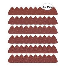60szt trójkątny haczyk i pętelka trójkątny papier ścierny, Fit 3 1/8 Cal wielofunkcyjne narzędzie oscylacyjne stopa szlifierska, Assorted 40 60 80 100 120