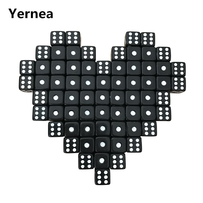Yernea 100Pcs/Lot 10mm Acrylic Black Dice White Dot Hexahedron RPG Dice Set Club Party Game Puzzle Dice Wholesale