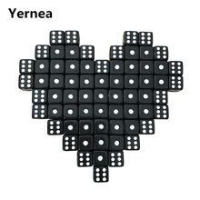 Yernea 100Pcs/Lot 10mm Acrylic Black Dice White Dot Hexahedron RPG Dice Set Club Party Game Puzzle Dice Wholesale acrylic 10 side game dice green 5 pcs