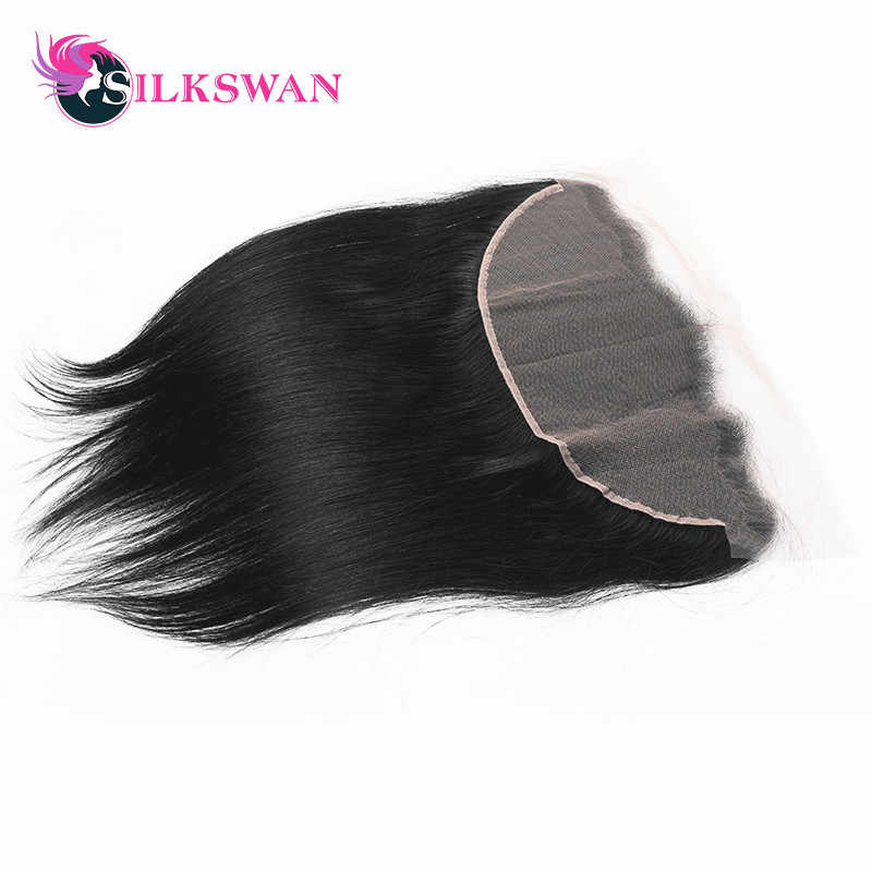 Slikswan Hair Brazilian Straight Lace Frontal Closure 13*4 Ear to Ear  Closure 120% Destiny Nature Color Remy Hair Free Shipping