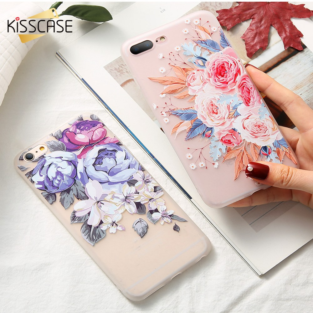 KISSCASE 3D Relief Soft Silicone Case For iPhone 7 8 Plus Fashion Style 5 5S SE 6 6s Back Cover