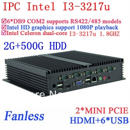 New Arrival Fanless Industrial Computers I3 With Gigabit Ethernet 6 USB 6 COM WIN7 WIN8 LINUX 2G RAM 500G HDD