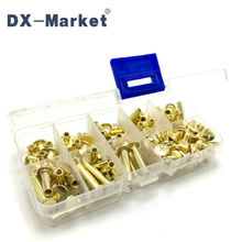 m5 , 8size rivet kit 75pcs semi-tubular rivets DIY internal thread screw  Copper plating fasteners 6mm-25mm