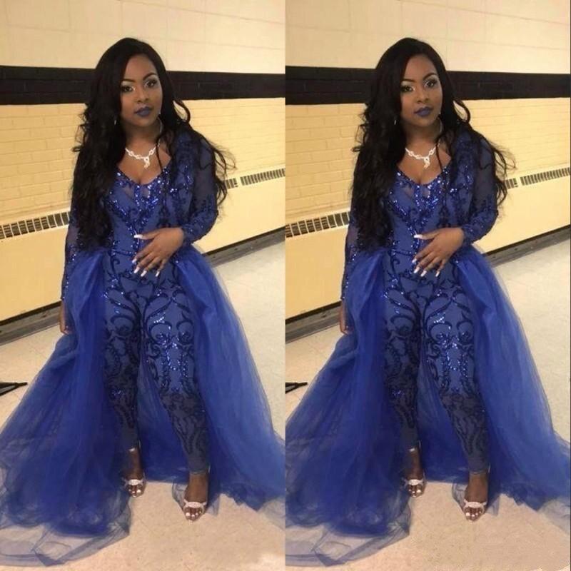 Diplomatisch Avondjurken Jumpsuits Lange Mouwen Prom Dresses Afneembare Trein Kant Applique Luxe Afrikaanse Party Womens Pant Suits Delicious In Taste