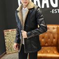 Autumn and winter slim medium-long berber fleece plus velvet PU clothing male leather jacket fur one piece outerwear