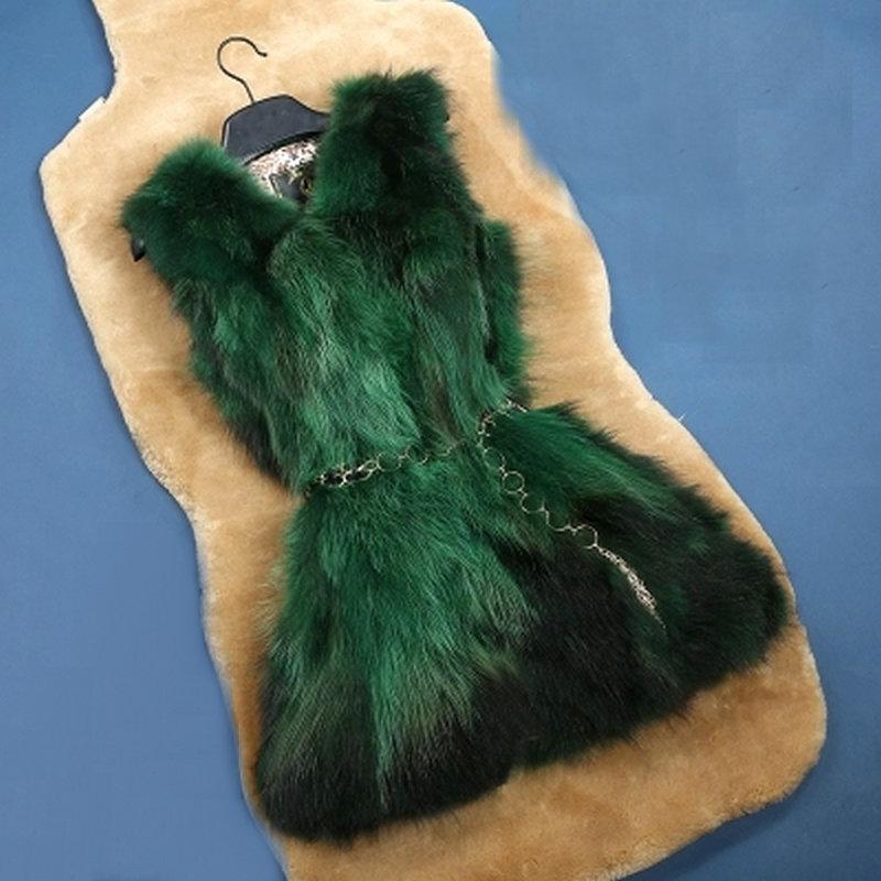 Doprava zdarma skutečné kožešinové bundy kabáty dámská fox kožešinová vesta kabát příroda fox kožešinová bunda přizpůsobená velká velikost