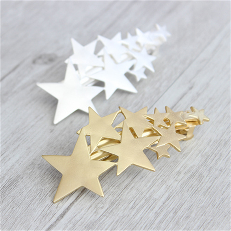 Women Special store fashion gold alloy star shape barretes hair jewelry