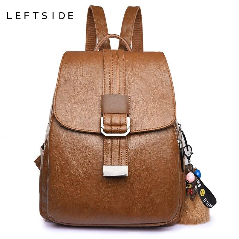 LEFTSIDE Women Backpacks Tassels Soft PU Leather Travel Bags Female Shoulder Schoolbags For Girls Backpacks Black