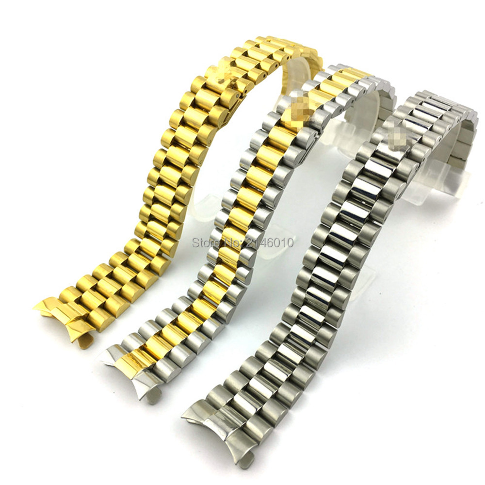 <font><b>20mm</b></font> 13mm Watch Band Strap Solid Stainless Steel Curved End President Style Bracelet <font><b>Watchbands</b></font> image