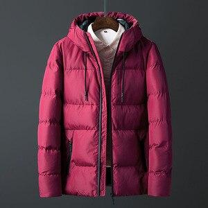 Image 2 - Casacos de inverno Dos Homens Engrossar Homens Quentes Parkas Com Capuz Casaco de Lã do Homem Jaquetas Outwear Jaqueta Masculina Transporte da gota ABZ107