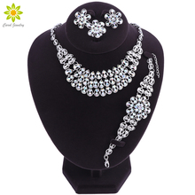 Luxury Silver Color Wedding Jewelry Sets Women Fashion Jewelry Sets Crystal Flower Pendant Necklace Earrings
