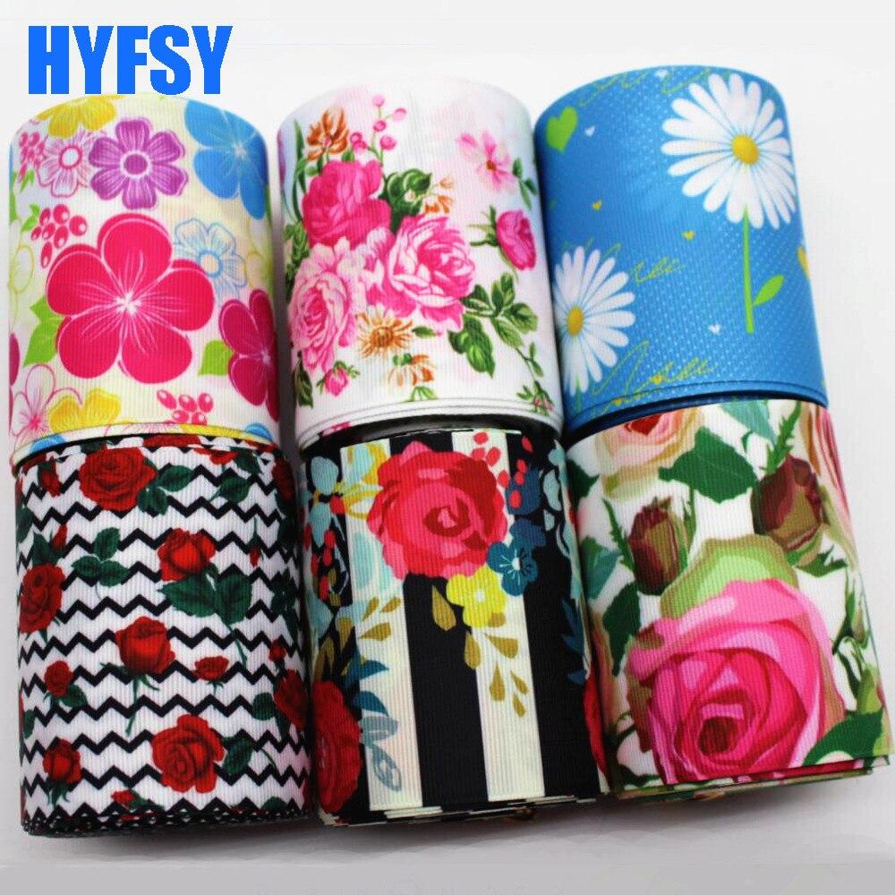 Hyfsy 10070 75 мм большой цветок ленты 5 метров DIY Подарочная упаковка ручной работы материалы для головные уборы ленты в крупный рубчик