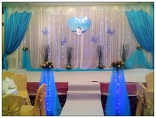 Good Designed Wedding Backdrops with luxurious blue Swag for Wedding Decorations 3m*6m