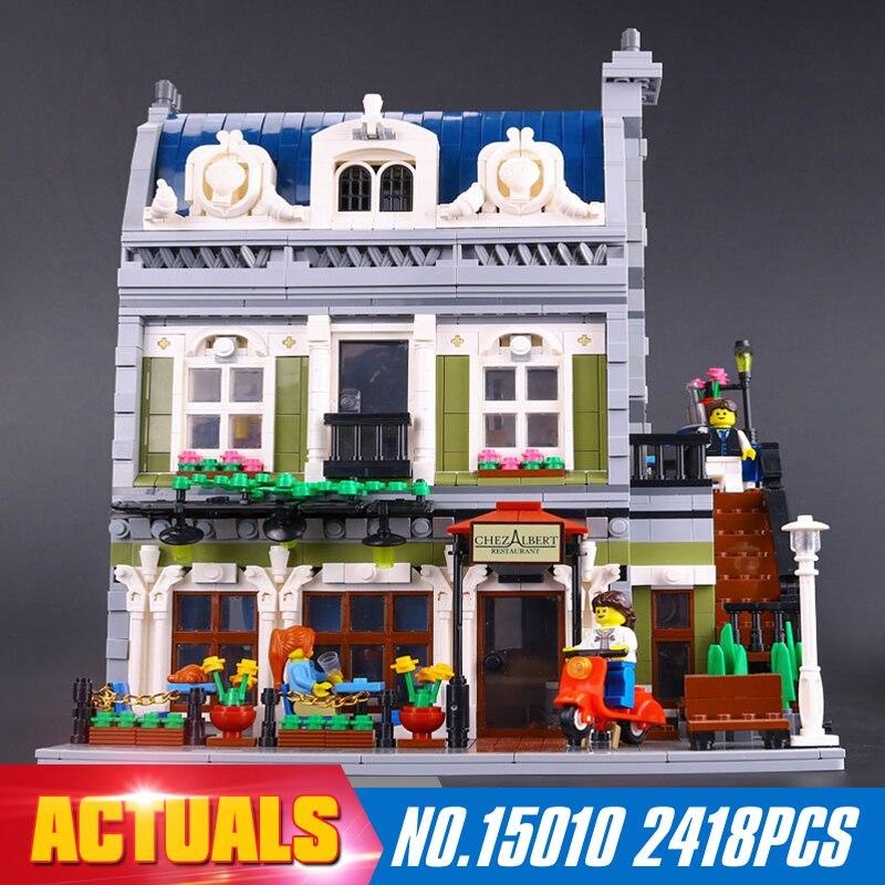 ФОТО Lepin 15010 2418Pcs Creator Expert City Street Parisian Restaurant Model Building Blocks Toy Compatible 10243 Gifts