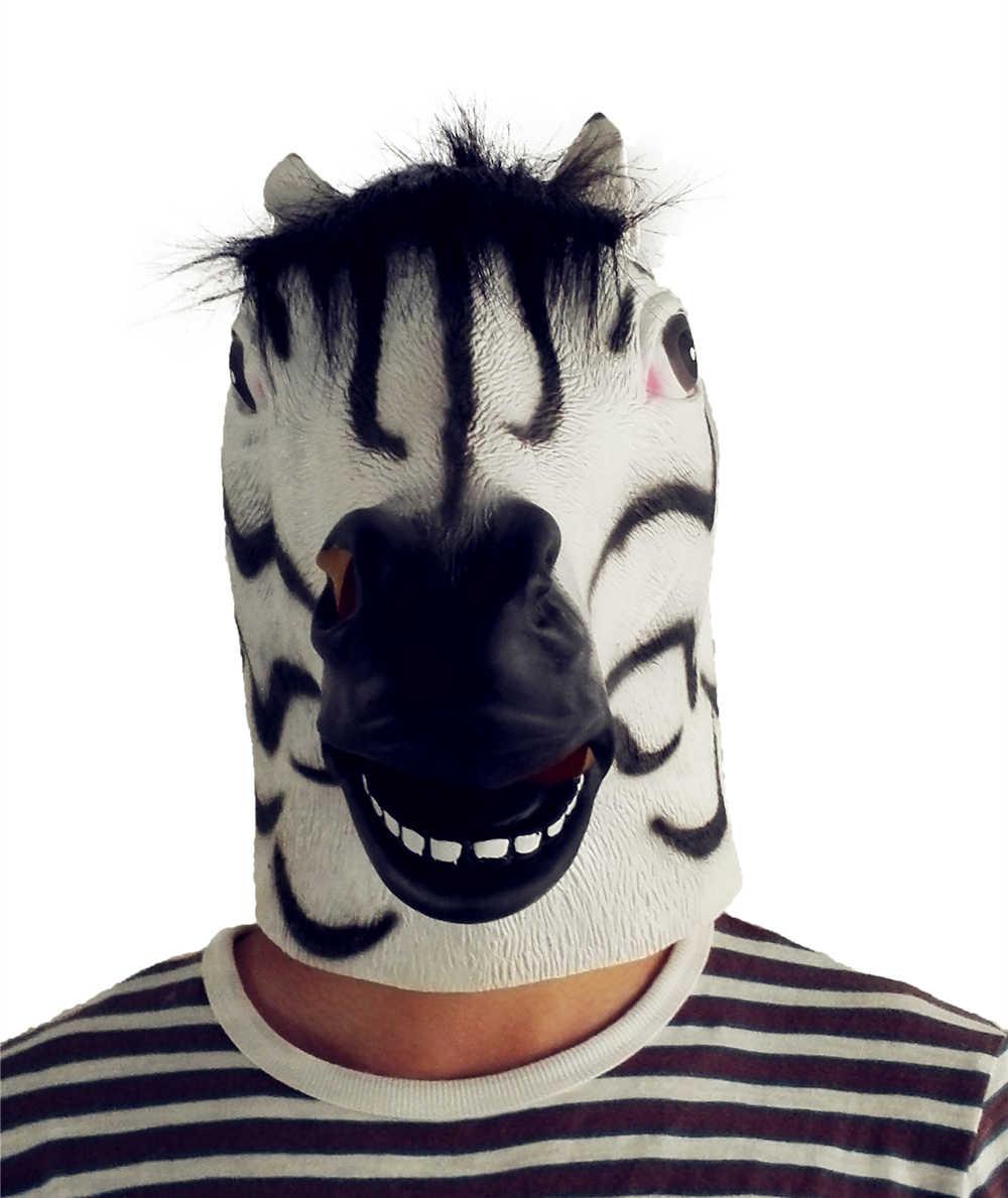 Горячая продажа маска полное лицо Хэллоуин Зебра Лошадь Маска единорога Новинка жуткая голова латексный костюм театральный реквизит вечерние маски Рождество