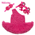 Newest Dress Baby Girl Rompers  One Shoulder Rose Ruffle Dresses with Free Shoes Infant Party Clothes Newborn Summer Clothes