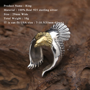Image 5 - Anillo de águila para 100% Plata de Ley 925, joyería fina para hombre o mujer, regalo de fiesta de moda con personalidad, marca GR15