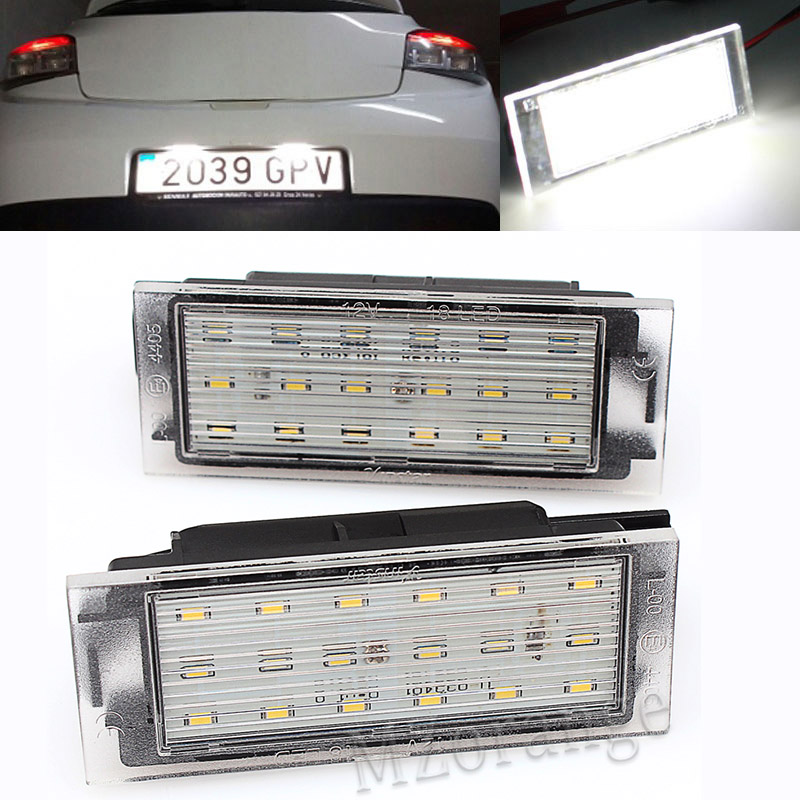MZORANGE 2Pcs Car LED Number License Plate Light SMD3528 For Renault Clio Laguna 2 Megane 3 Twingo Master Vel Satis Car Lights