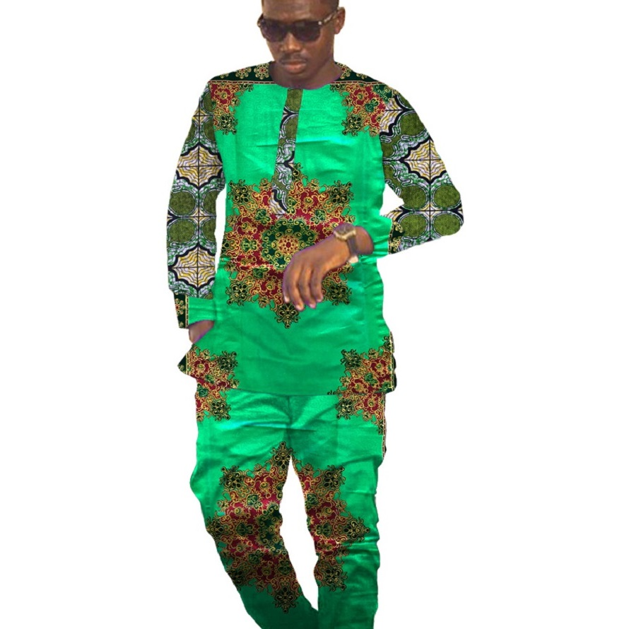 Private custom africa clothing men print tops and pants patchwork african clothes for men shirt pant