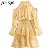 2019 Women Sexy Shoulder Off Halter Dress Lady Long Sleeve Layered Ruffle Floral Print Yellow Chiffon Dress Summer vestidos