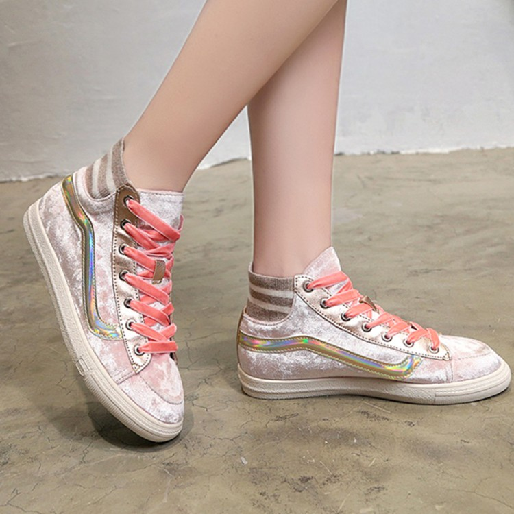 Vieruodis Lace-up Flats Shoes Woman Fashion Breathable Soft Women Sneakers 2018 new Gold velvet Women Casual Shoes T113 6