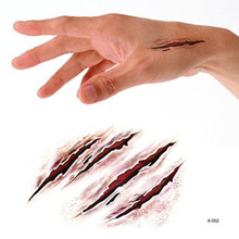 Halloween Bloody  Bleeding Scary Scars Waterproof Temporary Tattoo Stickers for Practical Jokes #r114
