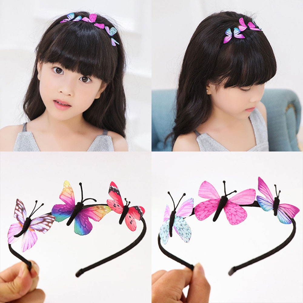 Cute Girls Hair Band Kids Butterfly Headband Children Party BB Hair Accessories Colorful Handmade Fairy Princess Hairbands