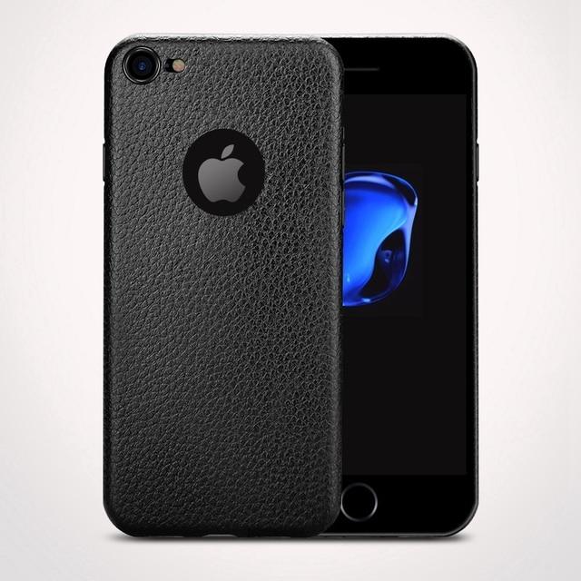 93f30e21847 Funda de piel de cuero para iphone 7 plus iphone 8 X silicona delgada suave  cubierta