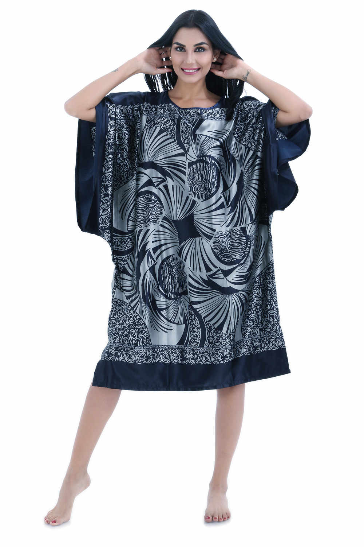Темно синие летние женские халат ночная рубашка леди из искусственного шелка для ванной ночная рубашка Mujer Pijama цветок Zh12C