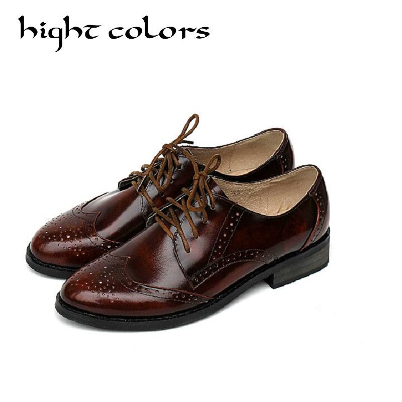 2018 British Style Women Oxfords New Spring Genuine Leather Women's Shoes Autumn Lace Up Flats Round Toe Casual Ladies Shoes 43 asumer black fashion spring autumn ladies shoes round toe lace up casual women flock cow leather shoes flats