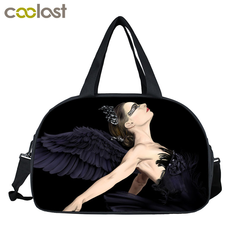 Elegant Swan Angel By The Wings Women Tote Sunset Animal Horse Beautiful Sunflower Male Female Duffle Bag Men Women Travel Bags