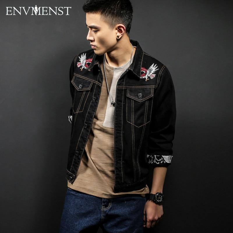 2017 Brand Clothing Fashion Eagle Embroidery Designed Black Denim Jackets Plus Size 5XL black Short Style Street Jeans Coat